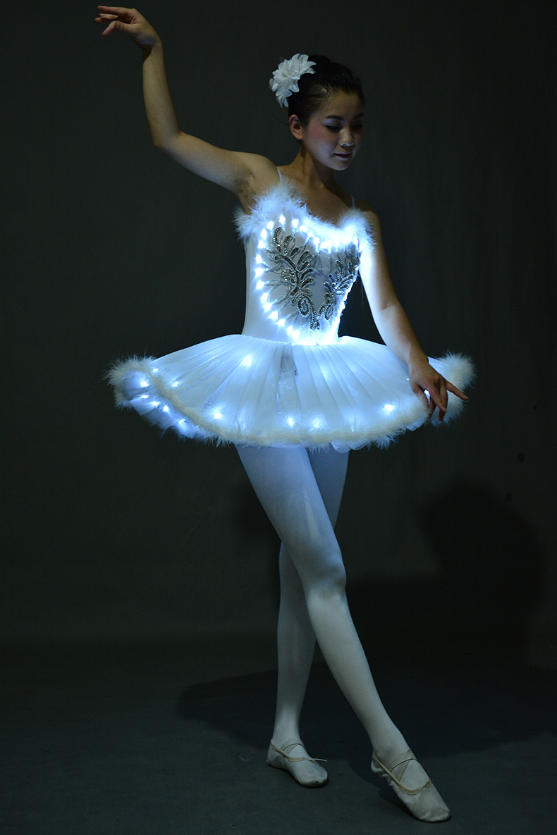 LED Light Swan Lake Noctilucan Light LED Ballet Skirt Adult Children Fluffy Fluorescent Performance Clothing Dance Costume
