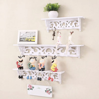 NEW White Hollow Out Decorative Pattern Wall Clapboard Hook Storage Holders Racks Wooden Portable Furniture Wall