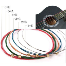цена на IRIN 6 Pcs/set Steel Bronze Wound 1st-6th Rainbow Colorful Guitar Strings E-A For Acoustic Folk Guitar Classic Guitar