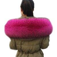 Fox Collar Black Color Hoodie Fur Trim Fox Fur Collar Scarf Custom Made Big Fur Collar Genuine Raccoon Fur Hood Trim Scarf L37