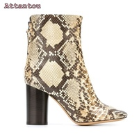 Gorgeous snakeskin leather short boots pointed toe thick heel mid calf woman shoes python leather hot selling female boots