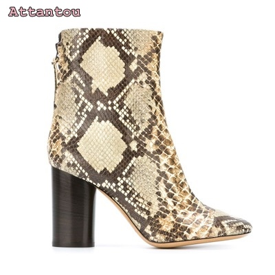 Gorgeous snakeskin leather short boots pointed toe thick heel mid-calf woman shoes python leather hot selling female boots double buckle cross straps mid calf boots