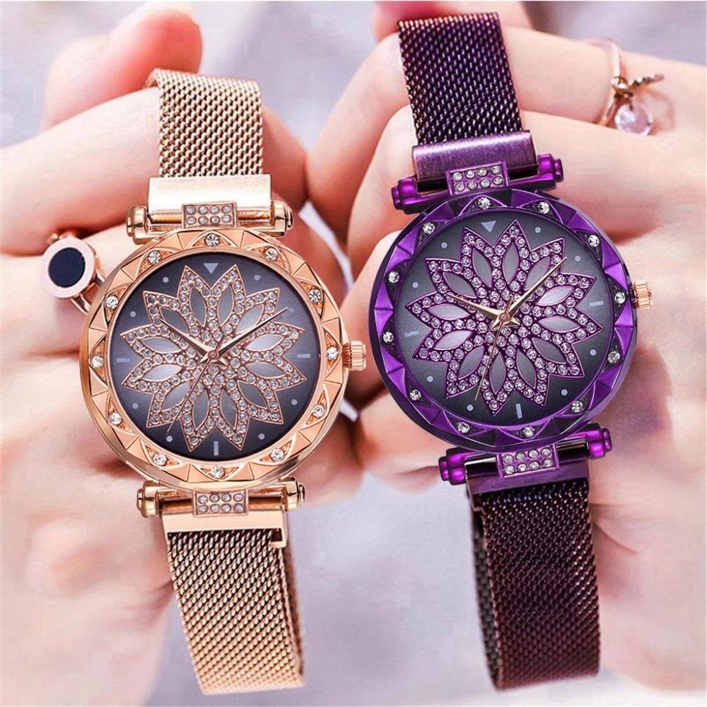 Hot Fashion Women Magnet Buckle Lucky Flower Watch Luxury Ladies Rhinestone Quartz Watch Clock Relogio Feminino Dropshipping