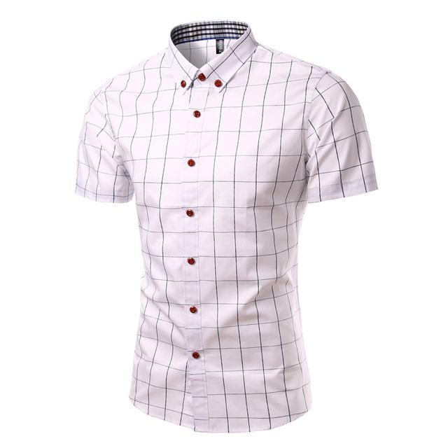 Marca Camisa A Cuadros de Los Hombres de Color Sólido de Manga Corta Camisa Masculina Turn Down Collar Casual Hombres del Algodón Camisa Chemise Homme 7 colores