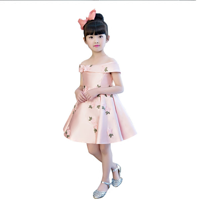 aba25416120bf Korean Sweet Children Girls Princess Party Dress Kids Baby Wedding Birthday  Evening Flowers Dresses Pageant Clothes H03