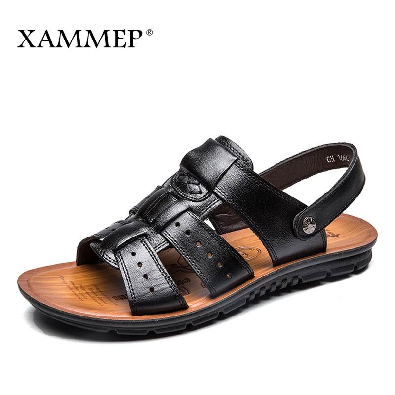 Xammep Men Sandals Genuine Split Leather Men Beach Shoes Brand Men Casual Shoes Men Slippers Sneakers Summer Shoes Flip Flops