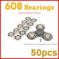50Pcs 22x6mm 608 Ball Bearing For Lumineux Led Light Batman Stress Wheel Hand Tri Spinner Fidget