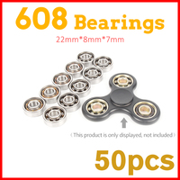 50Pcs 22x6mm 608 Ball Bearing For Lumineux Led Light Batman Stress Wheel Hand Tri Spinner Fidget
