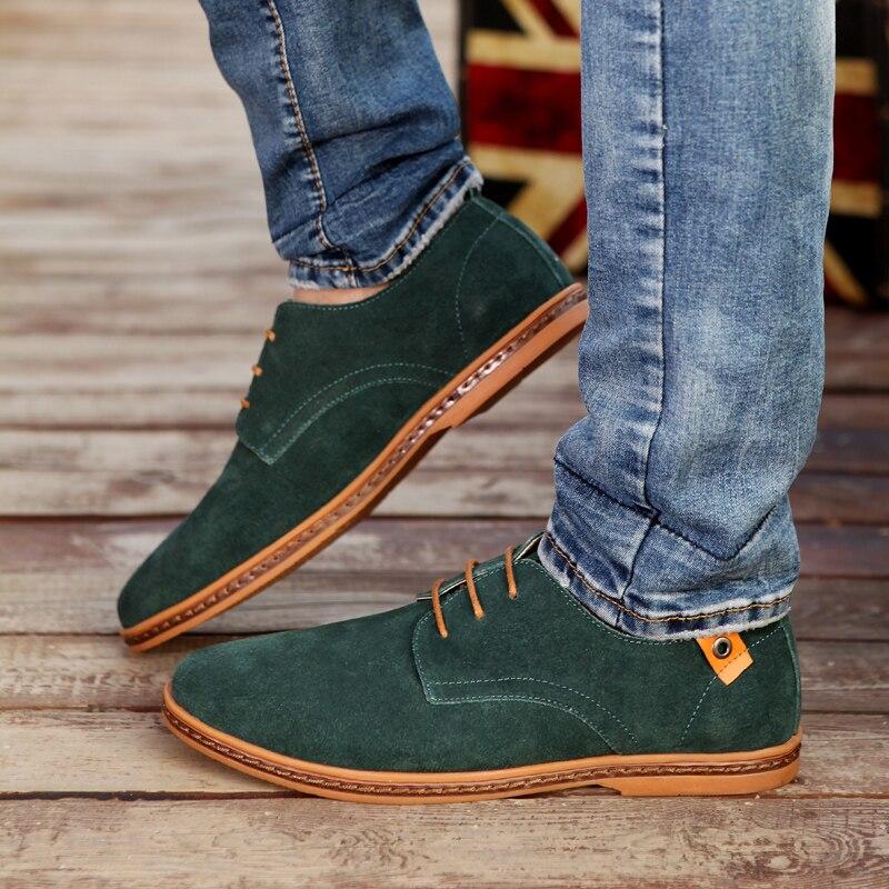 Big Size 48 Men Flats Shoes Casual Men Leather Shoes Luxury Brand Black Cow Suede Men Shoes Leather Zapatos Hombre 10 Colors