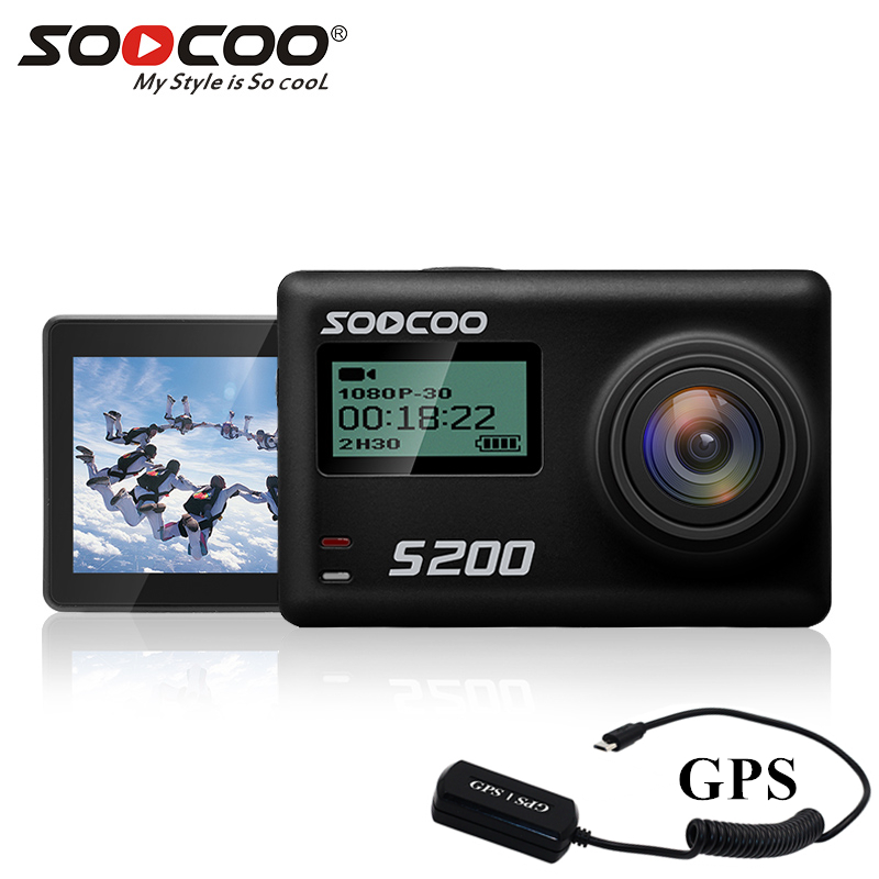 Soocoo S200 action camera 4k sport with case GPS microphone remote control touch screen action cam
