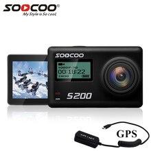 Soocoo s200 câmera de ação 4k, câmera esportiva com caixa e gps, com controle remoto e tela sensível ao toque