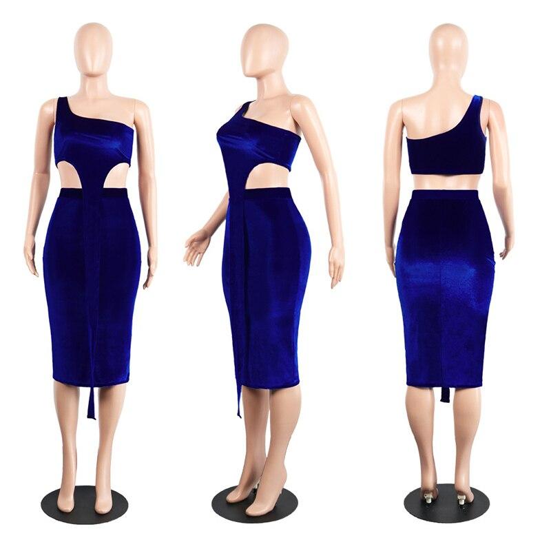 Royal Blue High-End Velvet Dress (2 Piece Set) 3