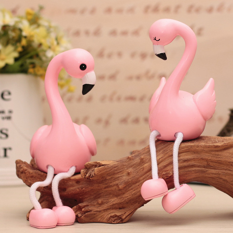 2Pcs Cartoon Flamingo Resin Crafts Kids Women Home Figurines Miniatures Deccor Ornaments Valentines Birthday Wedding Gifts