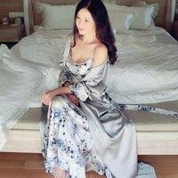 Autumn Floral Print Silk Luxury Women 2 Pieces Robes Sets Long Sleeve Elegant Sleepwear Female Bathrobe Sexy Lingerie 5588