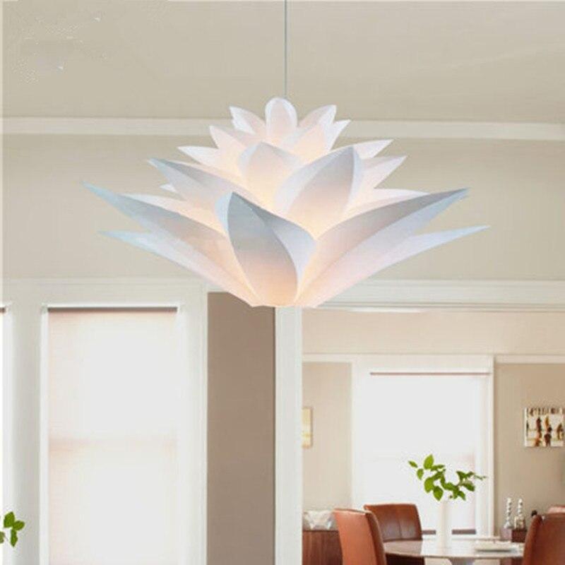 ФОТО Modern Lily Flowers Lustre Pendant Lights PVC Lotus Lampshade DIY Pendant Lamp LED hanging lamp light fixtures luminarias E27