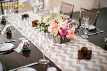 Фотография Hight-end Champagne Chervon Sequin Table Runner- 12x108inch-fit 6ft or 8ft Rectangle Table