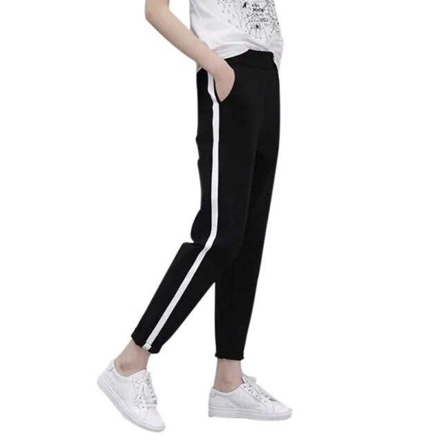 a81581d2b2e 2017 Top Fashion Women Side Stripes Pants Women Black Casual High Waist  Harem Pants Plus Size Drawstring Trousers New