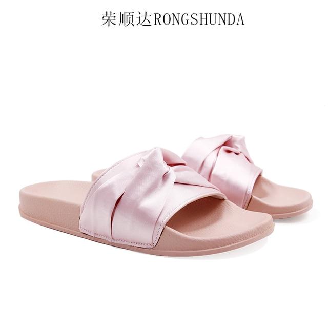d8cbcdfd7 Bow designer woman flipflops big silk bow-knot slippers velvet design bow sandals  chaussure femme silk velvet flipflops slippers