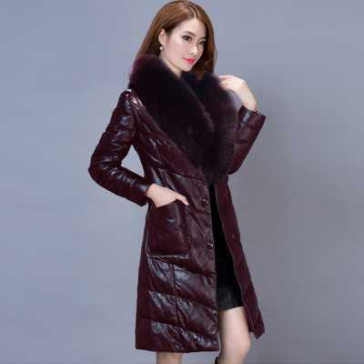 2016 New Winter Women Fur Collar PU Down Cotton Coat Long Slim Long Sleeve Bow Belt Jacket Female Downs Parka Plus Size A3908 s 2xl 2 colors 2015 new winter women down coat long slim turn down collar zipper jacket female belt pocket outwear zs308