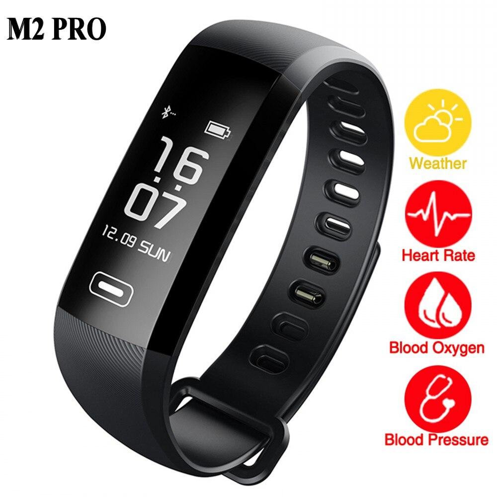 M2 Pro Inteligente Pulseira Pulseira Monitor de Freqüência Cardíaca Relógio de Fitness de Oxigênio no sangue Tempo 50 Palavras PK xiaomi mi banda Inteligente 2