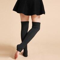 New Design Mulheres Inverno Quente Sólidos Polainas de Lã de Tricô Meias de alta Joelho OUTONO Ruffle Guarnição Polainas Bota Topper meias
