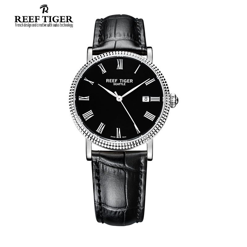 Reef Tiger/RT Watches Business Watches Men Automatic Designer Dress Watches Leather Strap Steel Watch with Date RGA163 reef tiger designer fashion diamonds automatic watch with white mop dial steel watches for women rga1550