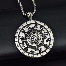 316L Stainless Steel Zodiac Amulet 12 Constellations Pendants Necklaces for Men woman Lucky Jewelry