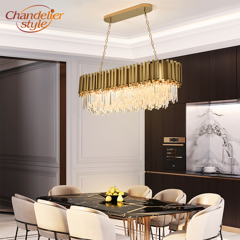 Modern K9 Crystal Chandelier Lighting Retangular LED Chandelier Light Boat Crystal Chandelier Lamps Indoor Lighting