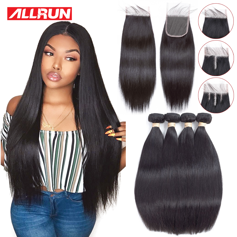 Allrun Straight Hair Bundles With Lace Closure Extension Hair 2/3 - Rambut manusia (untuk hitam)
