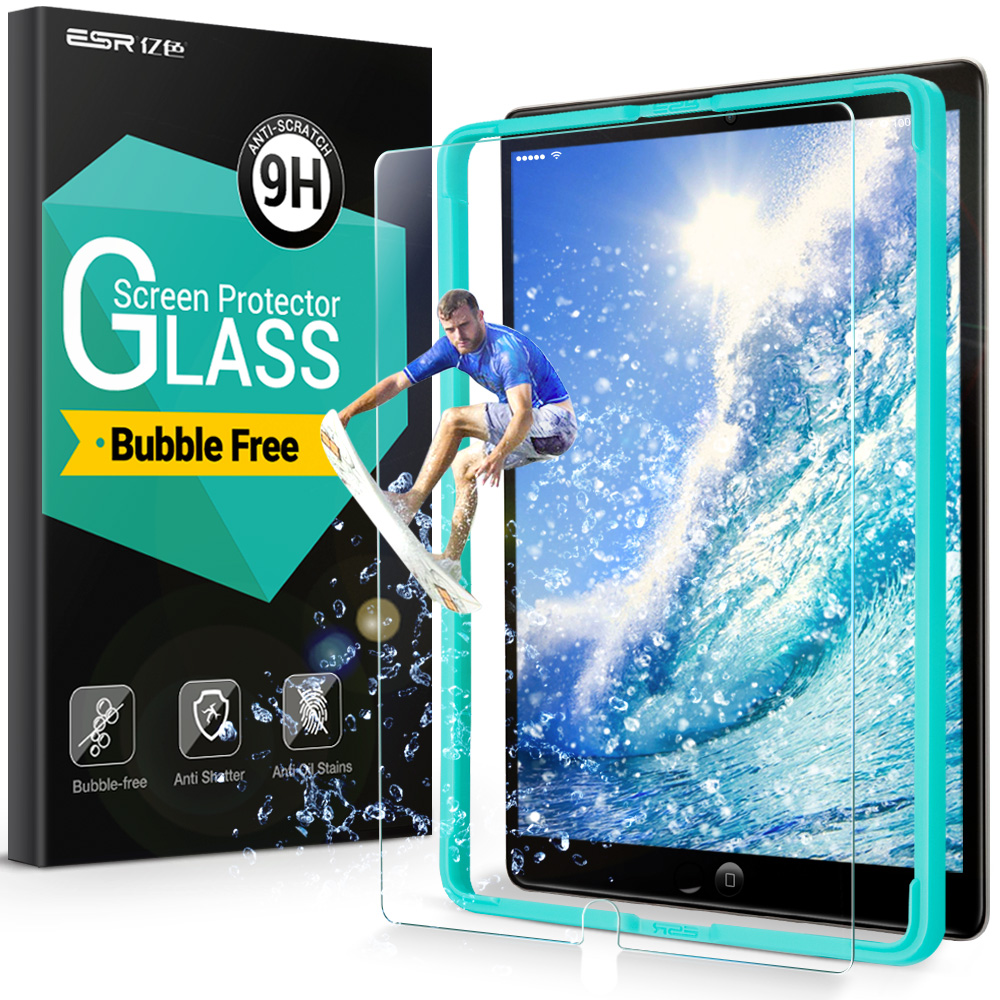 Screen Protector for iPad Pro 10.5,ESR 9H Tempered Glass Anti-Scratch Screen Protector with install kit for iPad Pro 10.5 inches benks tempered glass for xiaomi 5 2 5d radians screen protector