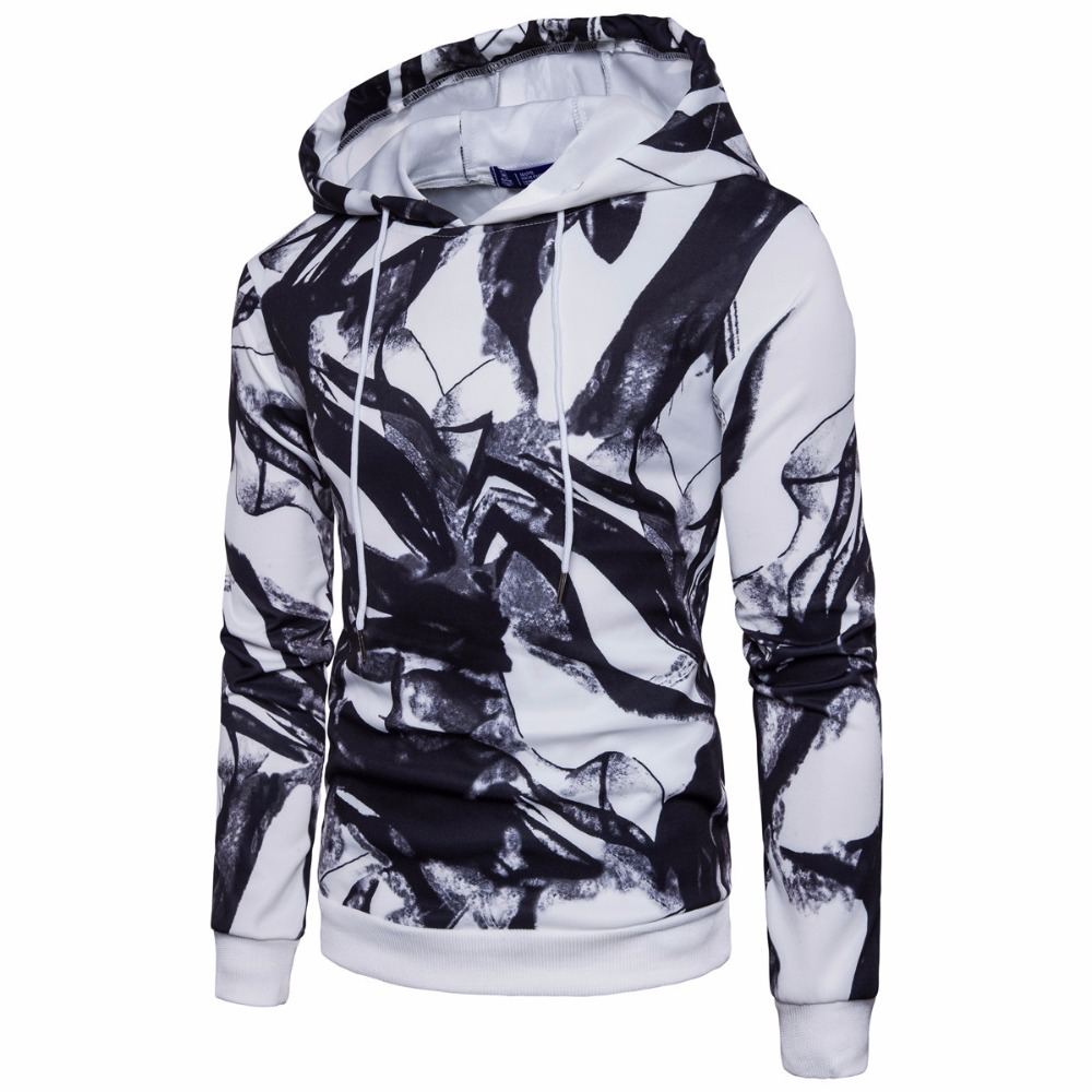 Fashion mens ink painting head hoodies casual digital printing hood Pullovers for male 2017 S-2XL