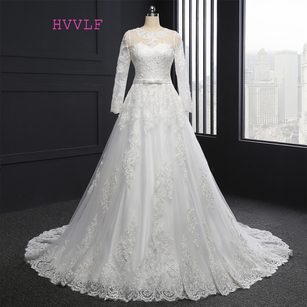 HVVLF Vestido De Noiva 2017 Muslim Wedding Dresses A-line Long Sleeves Appliques Lace Vintage Wedding Gown Bridal Dresses