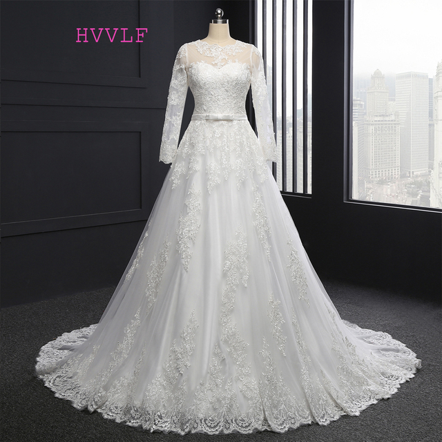 HVVLF Vestido De Noiva 2018 Muslim Wedding Dresses A Line Long Sleeves Appliques Lace Vintage
