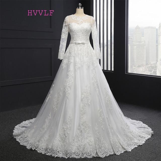2a3867507a6 New Vestido De Noiva 2019 Muslim Wedding Dresses A-line Long Sleeves  Appliques Lace Vintage Wedding Gown Bridal Dresses