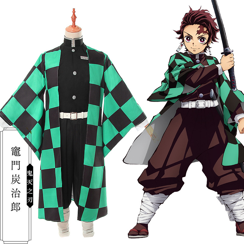 Anime demon slayer: kimetsu no yaiba Cosplay Costume Kamado Tanjirou kimono Costume Japanese Traditional Halloween Clothes