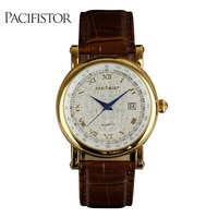 INFANTRY MEN S Lady Classic Date Roman Numerals Brown Leather Elegant Quartz Wrist Watch New