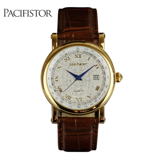 PACIFISTOR Mens Watches Top Brand Luxury 2018 Vintage Watch Men Brown  Leather Gold Retro Roman Watches for Men Relogio Masculino cca563ad5