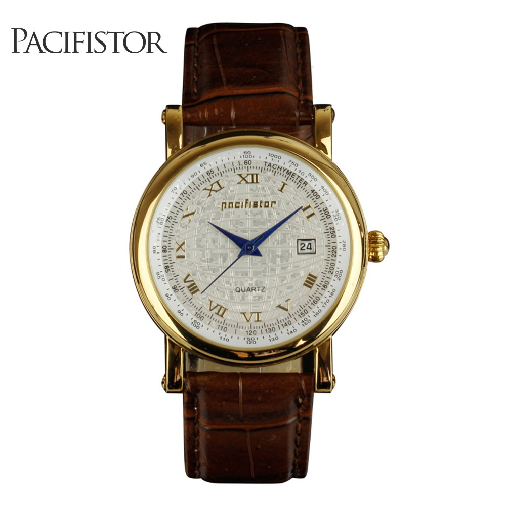 PACIFISTOR Mens Watches Top Brand Luxury Vintage Watch Men Brown Leather Wristwatch Gold Retro Roman Numerals Relogio Masculino