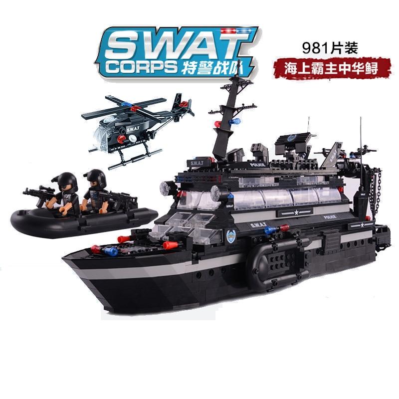 Oyuncaklar ve Hobi Ürünleri'ten Modeli Yapı Setleri'de 981 adet çocuk eğitim yapı taşları oyuncak Uyumlu Legoingly şehir Çin mersin balığı komuta gemisi rakamlar Tuğla hediye'da  Grup 1