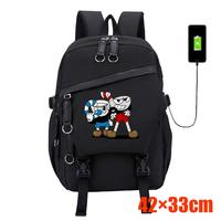 Cuphead Mugman Oxford Backpack Men's Fashion Casual Laptop Bag Teenagers Student Black Schoolbag USB Charging Sport Travel bags