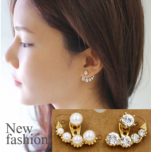 New Design Gold Earring Jackets For Women One Side With Pearls The Other Is Rhinestone