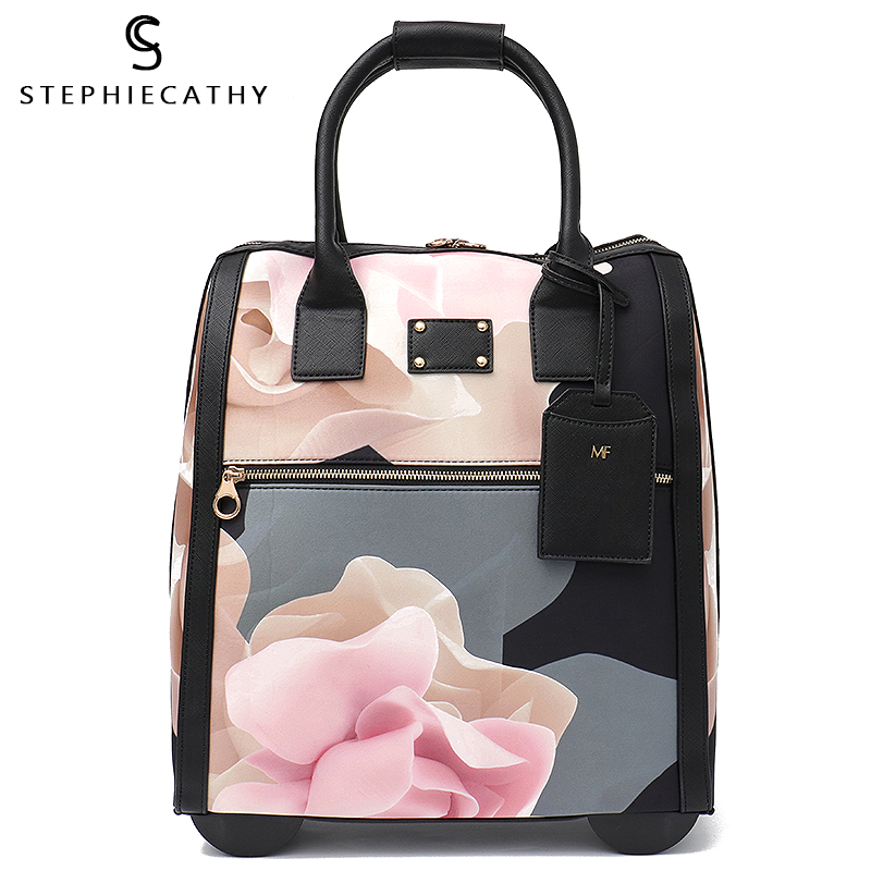 SC Luggage Metal Trolley Travel Bags Flower Suitcase on Wheels Valise Bagages Roulettes Hand Trolley Board