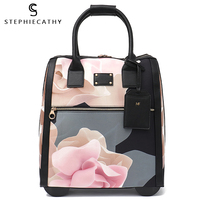 SC Luggage Metal Trolley Travel Bags Flower Suitcase on Wheels Valise Bagages Roulettes Hand Trolley Board Chassis Package