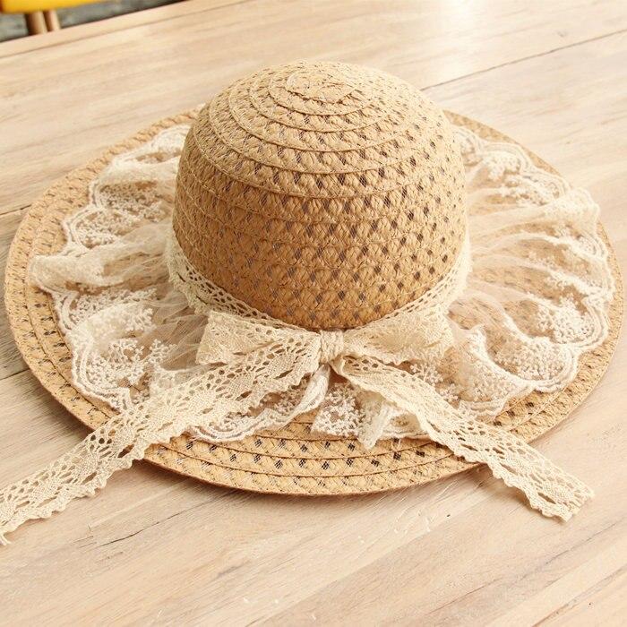 10pcs/01803-hucaifan summer lace bowknot beach paper straw cap women lady sunscreen hat wholesale