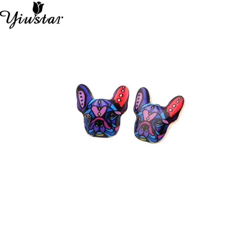 Yiustar New Fashion 2017 French Bulldog Earrings Puppy Dog Stud Earrings for Women and Girls OED046