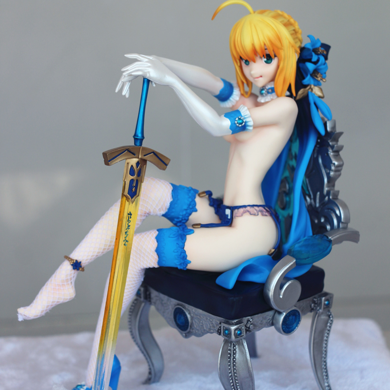 1/6 Scale Saber Blue throne Resin painted GK model Japanese Anime Action figures Sexy Fate Stay Night Collection sex toy gift alen new hot fate stay night racing girl black blue white saber throne pajamas action figure toys collection christmas gift doll