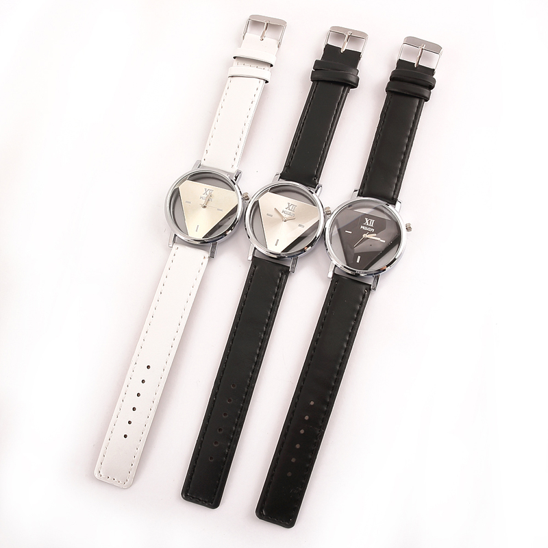 Online Shop 2017 autumn fashion trend inverted triangle Shi ying simple generous men and women leather belt watches   Aliexpress Mobile