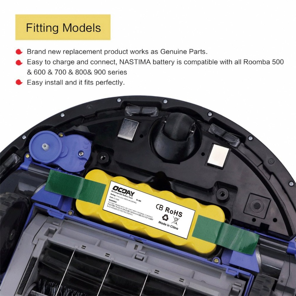 OCDAY 14.4V 6000mAh Ni-MH Vacuum Cleaner Rechargeable Battery Pack Suitable for Irobot Roomba Vacuum Cleaner 10 16pcs sc rechargeable battery 1 2v sub c size 3000mah ni mh ni mh cell with welding tab pin for electric drill vacuum cleaner