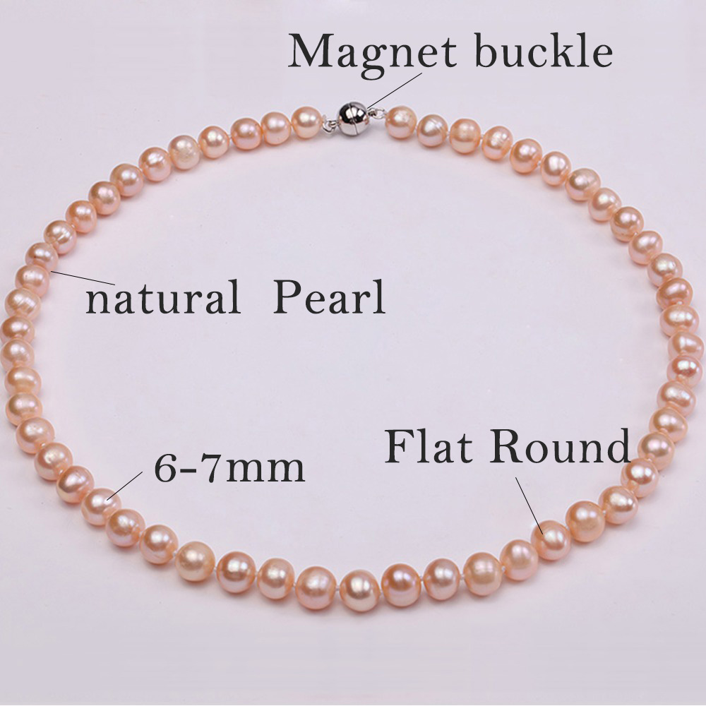 "JYX Updated Genuine Purple Pink 8-9mm Real Round Cultured Freshwater Pearl Necklace 18"" mother gift necklace pearl"