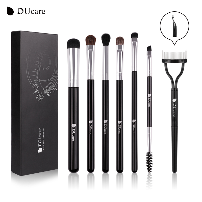 DUcare 7 STÜCKE Make-Up Pinsel Lidschatten Pinsel Set Faltbare Wimperkamm Augenbraue Kosmetik Tools Kit